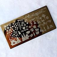 1szt Narodzenie DIY pieczęć obrazu Płyta matryca szablonu manicure Nail Art tłoczenia narzędzie transferu drukowania