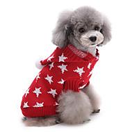 Gatos / Perros Suéteres Rojo / Azul Ropa para Perro Invierno Estrellas Adorable / Mantiene abrigado / Navidad
