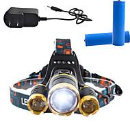 Belysning Pannlampor LED 3000 Lumen 4.0 Läge Cree T6 18650 Bimbar Laddningsbar Vinklad Ficklampa SuperlättCamping/Vandring/Grottkrypning