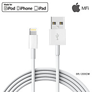 MFI 6ft / 200CM Certified Lightning Charge USB Cable for iPhone 7 7 Plus 6s 6 Plus SE 5s 5  iPad Pro / Air /Mini