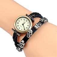 Dames Modieus horloge Polshorloge Armbandhorloge Kwarts Kleurrijk Leer BandVintage Cartoon Schedel Bohémien Bangle armband Cool