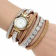 Dame Modeur Armbåndsur Simuleret Diamant Ur Quartz Farverig Imiteret Diamant PU Bånd Bohemisk Charm Armbånd Bangles AfslappetSort Hvid