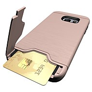 For Samsung Galaxy S7 edge S7 Case Cover Card Holder with Stand Case Cover Solid Color Hard PC