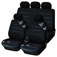 9 stuks set auto stoelhoezen universele pasvorm zwarte vlinder ontwerp materiaal polyester auto-accessoires