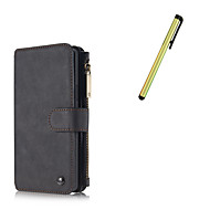 For Samsung Galaxy Note 5 Case Cover Card Holder Wallet with Stand  Flip Magnetic Case Full Body Case Solid Color Hard Genuine Leather With Stylus