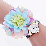 Xu™ 아가씨들 패션 시계 손목 시계 석영 PU 밴드 빈티지 꽃패턴 참 캐쥬얼 블랙 화이트 블루 레드