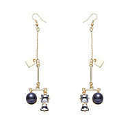 Kolczyki wiszące Perłowy Cyrkon Pozłacane Stop Gold-Black Biżuteria Na Ślub Impreza Codzienny Casual 1 para