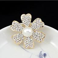 5月ポリーヨーロッパの古典的な天然真珠ダイヤモンド中空椿コサージュ