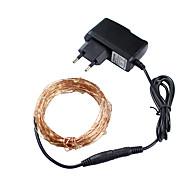 Χριστουγεννιάτικα Φώτα 3 χρώματα 10m 100 οδήγησε σύρμα χαλκού οδήγησε εγχόρδων φως του έναστρου προσαρμογέα lightspower (plug ukuseuau)