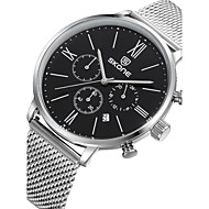Hombre Reloj de Moda Cuarzo Calendario Resistente al Agua Acero Inoxidable Banda De Lujo Plata Blanco Negro