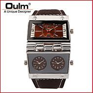 Herr Damers Unisex Sportsklocka Militärklocka Modeklocka Armbandsur Quartz Kalender Dubbel tidszon Äkta Läder Band Vintage Fritid
