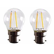2PCS 2W B22 LED Filament Bulbs G45 2 COB 200 lm Warm White Dimmable AC 220-240 AC 110-130 V