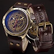 Męskie Sportowy Wojskowy Szkieletowy Zegarek na nadgarstek zegarek mechaniczny Punk Stal nierdzewna Skóra naturalna Pasmo Postarzane