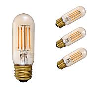 3.5W E26 LED Filament Bulbs T10 4 COB 300 lm Amber Dimmable / Decorative AC 110-130 V 4 pcs