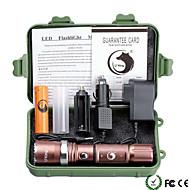 LED taskulamput Taskulamppu-setit LED 2000 Lumenia 5 Tila Cree XM-L T6 18650 AAA Himmennettävä Säädettävä fokus itsepuolustus Zoomable