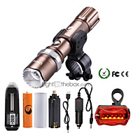 U'King ZQ-940BR#1-US XML-T6 2000LM 5Mode Flashlight Torch Kit with Attack Head Self-defense Function and Bike Safty Light
