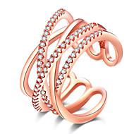 指輪 合金 ラインストーン ローズゴールドめっき 模造ダイヤモンド ジュエリー 欧米の シンプルなスタイル ホワイト ローズ ジュエリー パーティー 日常 カジュアル 1個