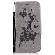 For Samsung Galaxy A5(2017) A3(2017) PU Leather Material Peach Butterfly Pattern Solid Color Phone Case A510 A310