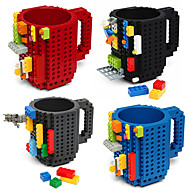 새로운 음료 용기, 350 ml의 BPA 무료 플라스틱 커피 우유 커피 잔 장난감 블록 머그컵