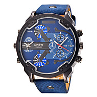 Men's Sport Watch Military Watch Fashion Watch Wrist watch Quartz Calendar Dual Time Zones Punk Large Dial Leather BandVintage Charm Cool