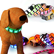 Cat Dog Collar Reflective LED Lights Adjustable/Retractable Strobe/Flashing Safety Plaid/Check Cartoon GeometicRed White Green Blue Pink