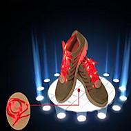 glänsande spets med LED-blixt skosnören färglysande spets sportskor fluorescerande färg män och kvinnor runt skor rep