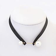 Dame Kort halskæde Tatovering Choker Rund form Geometrisk form Perle Imiteret Perle Fløjl Tatovering Mode Europæisk Sort Smykker For