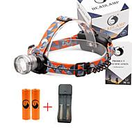 헤드램프 2000 루멘 3 모드 Cree XM-L T6 18650 조절가능한 초점 컴팩트 사이즈 캠핑/등산/동굴탐험 일상용 사이클링 사냥 여행 일 멀티기능 등산 야외 알루미늄 합금 PVC