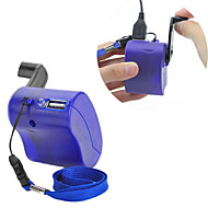 usb handslinger handmatig dynamo mobiele telefoon oplader hulpdiensten voor mp4 mp3 mobiele pda-- blauw