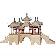Jigsaw Puzzles DIY KIT Building Blocks 3D Puzzles Educational Five Pavilion Bridge Wooden Puzzles Building Blocks DIY ToysSquare Castle