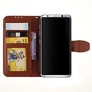 Для Чехлы панели Бумажник для карт со стендом Флип Чехол Кейс для Один цвет Твердый Искусственная кожа для Samsung S8 S8 Plus