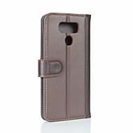 Voor lg g6 kaarthouder portemonnee flipcase full body case vaste kleur hard echt leer voor lg