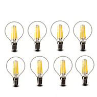 4.5W E14 E27 フィラメントタイプLED電球 G45 6 COB 600 lm 温白色 装飾用 AC220 AC230V印加時 AC240 V 8枚