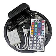 Z®zdm impermeável 5m 24w 300smd 2835 rgb luz de tira led 44key controle remoto kit 3a fonte de alimentação ac110-240v