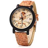 Dames Dress horloge Modieus horloge Unieke creatieve horloge Chinees Kwarts Hout Band Vintage Cartoon Vrijetijdsschoenen Creatief Beige