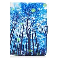 Apple iPad mini 4 3 2 1 burkolata kék erdőben mintás festett kártya stent pénztárca pu bőr anyagból lapos védő héj