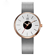 SK Damen Modeuhr Armband-Uhr Japanisch Quartz Wasserdicht Schockresistent Legierung Band Bettelarmband Bequem Schwarz SilberSchwarz