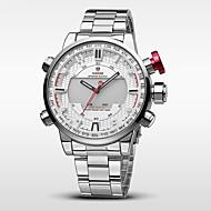 WEIDE 男性 スポーツウォッチ 軍用腕時計 日本産 デジタル 日本産クォーツ LED カレンダー 耐水 2タイムゾーン アラーム ストップウォッチ ステンレス バンド クール シルバー