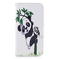 Samsung Galaxy a5 (2017) a3 (2017) telefon esetében műbőr anyagból panda bambusz mintás festett a5 (2016) a3 (2016)