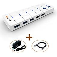 Wavlink usb3.0 hub 7-port super-speed led indicator Cabo 80cm com adaptador de alimentação
