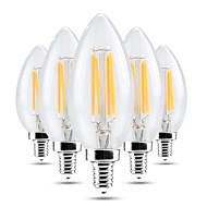 4W LED-kaarslampen C35 4 COB 300-400 lm Warm wit Koel wit Dimbaar Decoratief AC 220-240 V 5 stuks