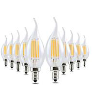 4W LED-kynttilälamput CA35 4 COB 300-400 lm Lämmin valkoinen Himmennettävissä Koristeltu AC 110-130 V 10 kpl