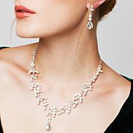 Damen Schmuckset Ohrring Stränge Halsketten Modisch Elegant Modeschmuck Kubikzirkonia Strass versilbert Diamantimitate Träne Halsketten