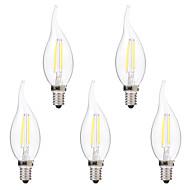2W LED필라멘트 전구 C35 2 COB 200 lm 따뜻한 화이트 화이트 밝기조절가능 AC 220-240 V 5개