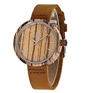 女性用 ファッションウォッチ 腕時計 ウッド 日本産 クォーツ 木製 本革 バンド チャーム カジュアルスーツ ブラウン