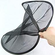 Pyöreä muotoiltu taitettava musta verkkokulma takalasi aurinkosuoja (2kpl