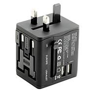 Universal Travel Adapter 2.1a 2 USB opladningshuller over hele verden, alt sammen i en universel strømforsyning til vægopladeren