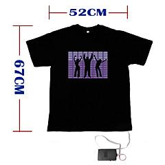 som e música activado el t-shirt dançarina visualizador de espectro-vu - m (2 * AAA)