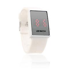 biała opaska silikonowa unisex czerwona dioda zegarek sportowy