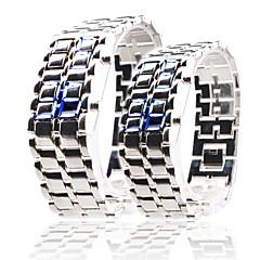 lavica stile led blu orologio digitale coppia (argento)